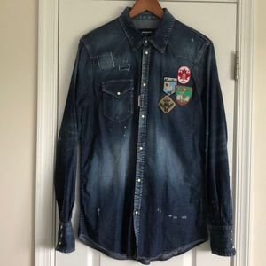 Dsquared2 patches denim shirt